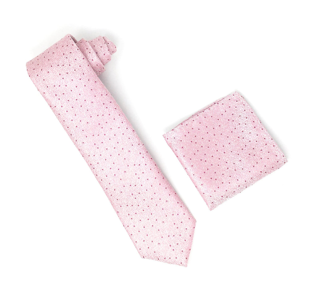 Pink & White With Burgundy Wine Mini Dots Designed Silk Tie With Matching Pocket Square