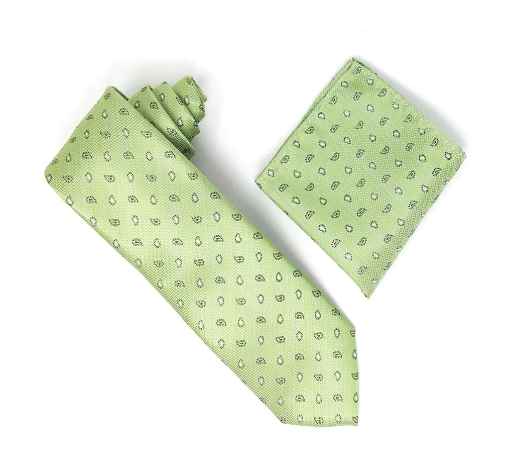 Sage With Green & White Mini Paisley Designed Extra Long Silk Tie With Matching Pocket Square