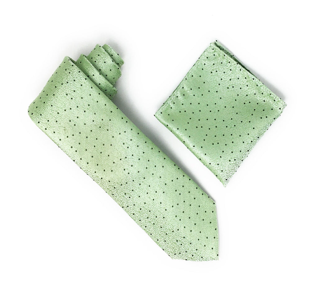 Sage & White With Green Mini Dots Designed Extra Long Silk Tie With Matching Pocket Square