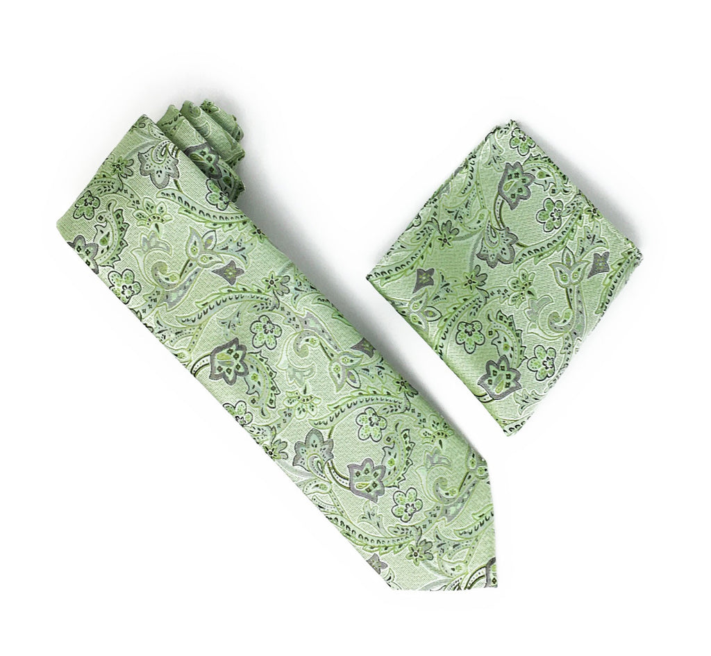 Sage, White & Green Paisley & Flower Designed Extra Long Silk Tie With Matching Pocket Square