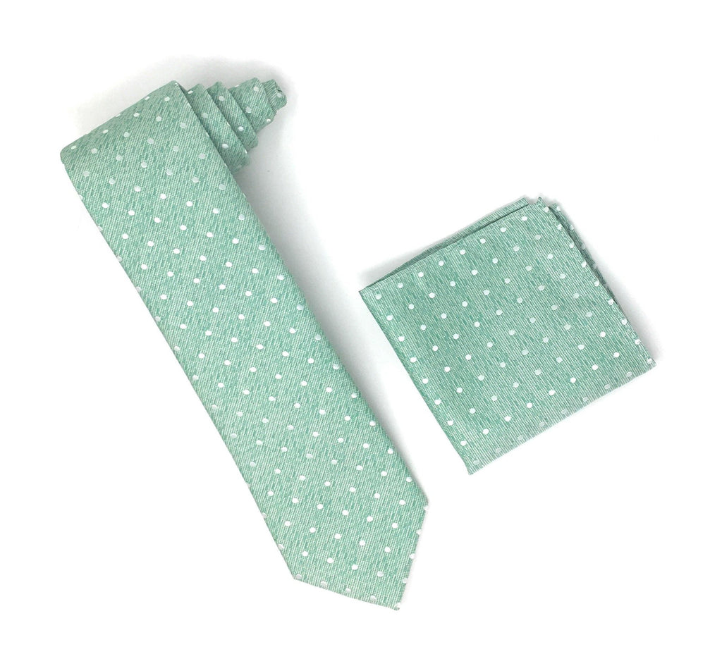 Spring Green With Silver Mini Dots Extra Long Silk Tie With Matching Pocket Square