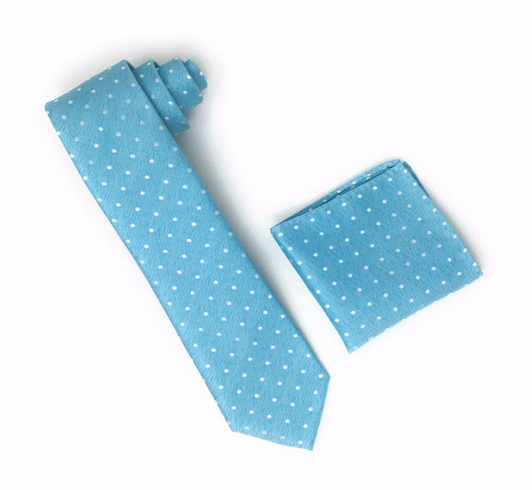Aqua With Silver Mini Dots Extra Long Silk Tie With Matching Pocket Square