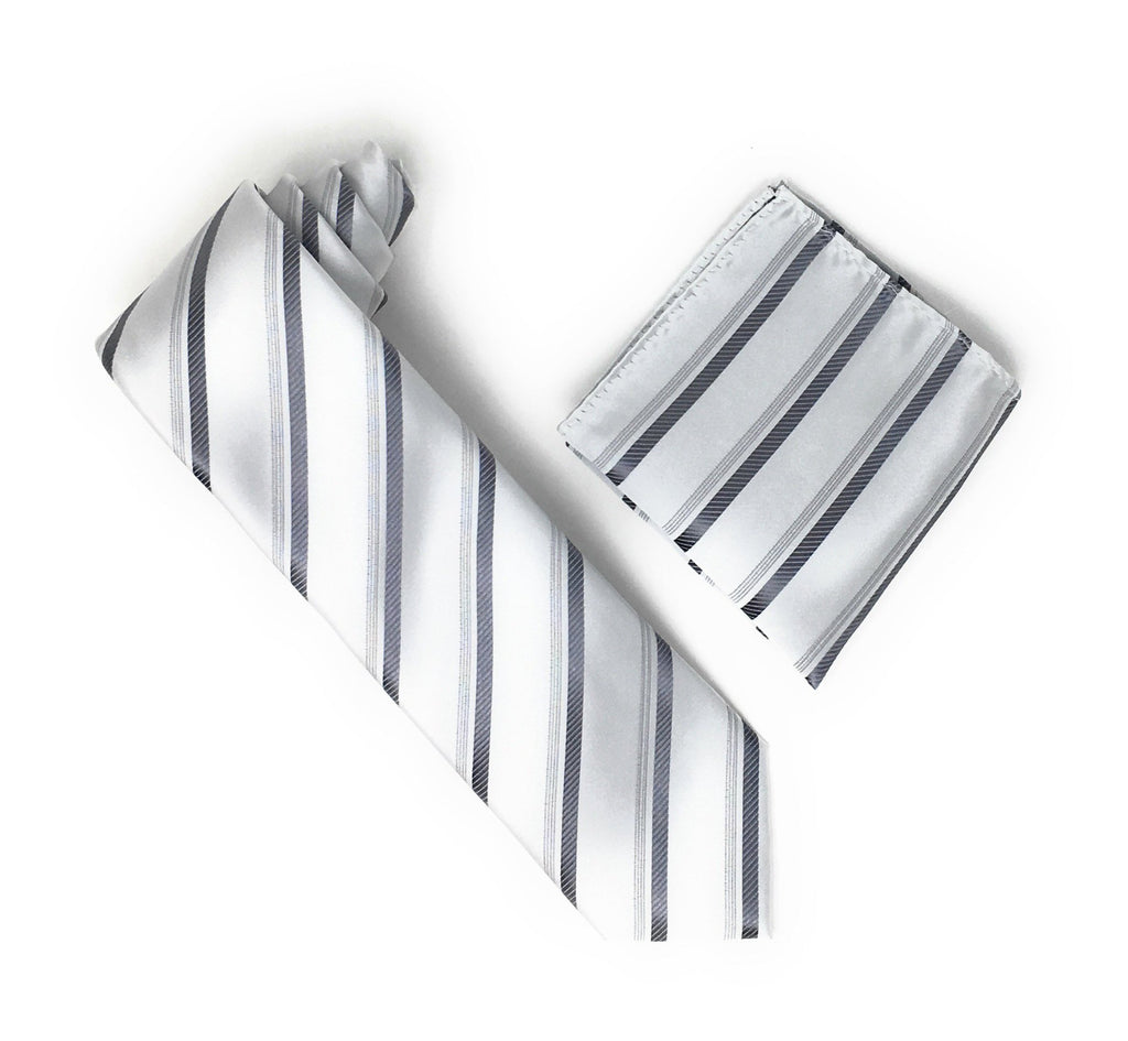 Silver & Grey Stripped Extra Long Silk Tie With Matching Pocket Square
