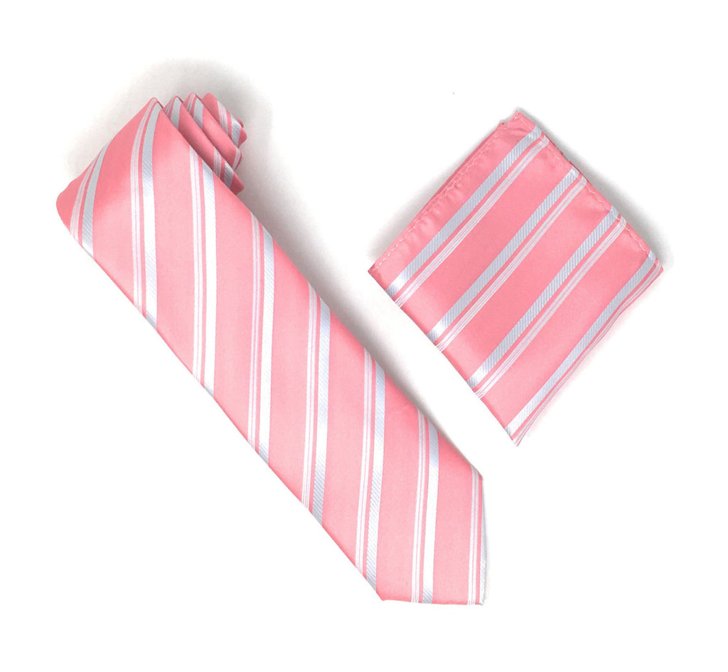 Pink & Silver Stripped Silk Tie With Matching Pocket Square