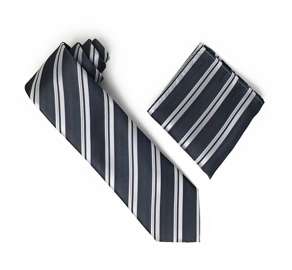 Grey & Silver Stripped Extra Long Silk Tie With Matching Pocket Square