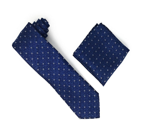 Black & Navy With Silver Squared Patterned Extra Long Silk Tie With Matching Pocket Square