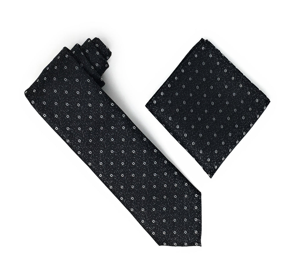 Black & Grey With Silver Squared Patterned Silk Tie With Matching Pocket Square