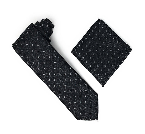 Black & Grey With Silver Squared Patterned Extra Long Silk Tie With Matching Pocket Square