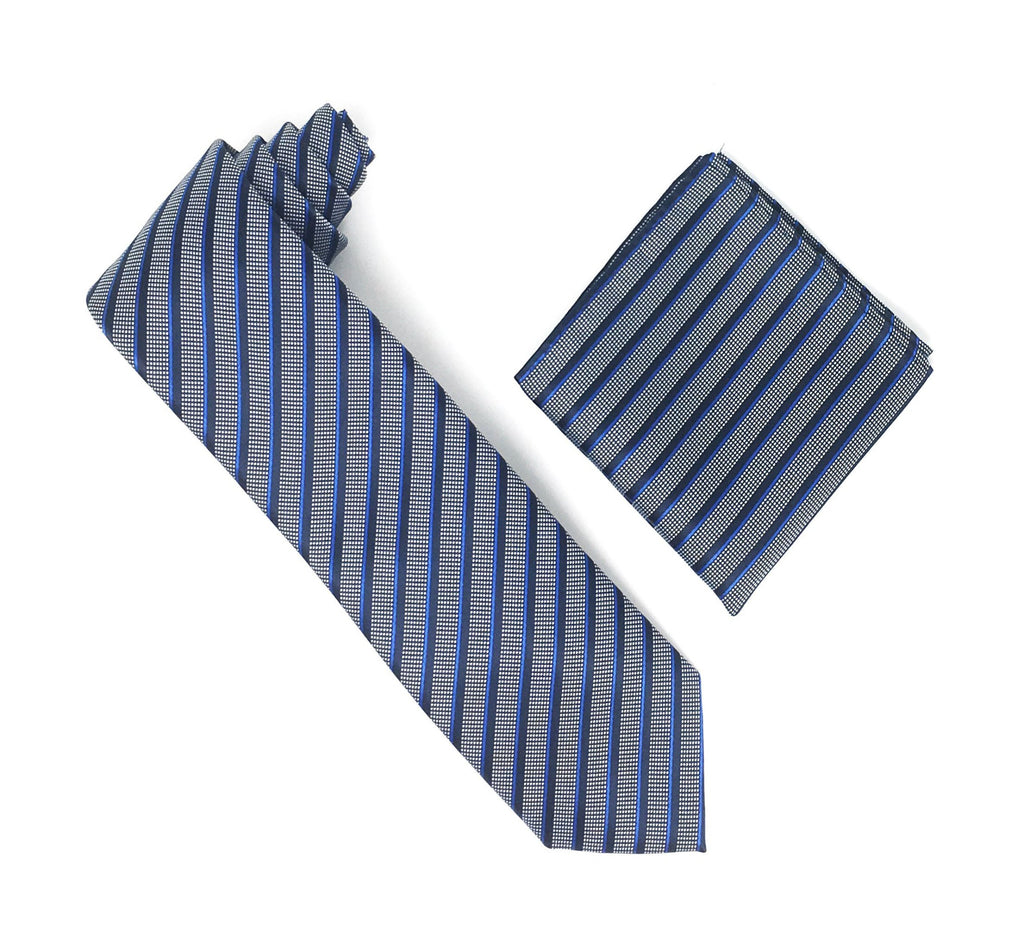 Black, Blue & Silver Stripped Silk Tie With Matching Pocket Square