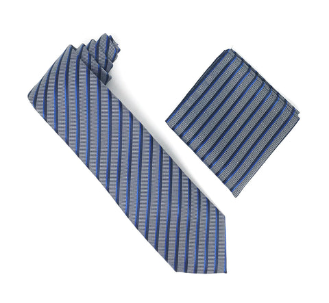 Black, Blue & Silver Stripped Extra Long Silk Tie With Matching Pocket Square