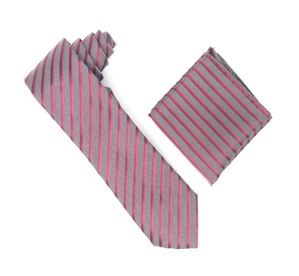 Burgundy, Red & Silver Stripped Extra Long Silk Tie With Matching Pocket Square