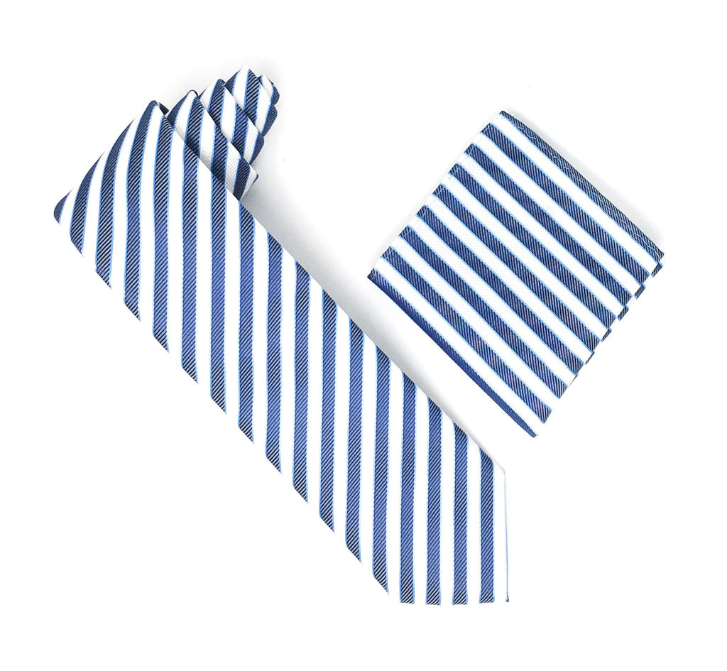 White, Baby Blue & Blue Stripped Extra Long Silk Tie With Matching Pocket Square