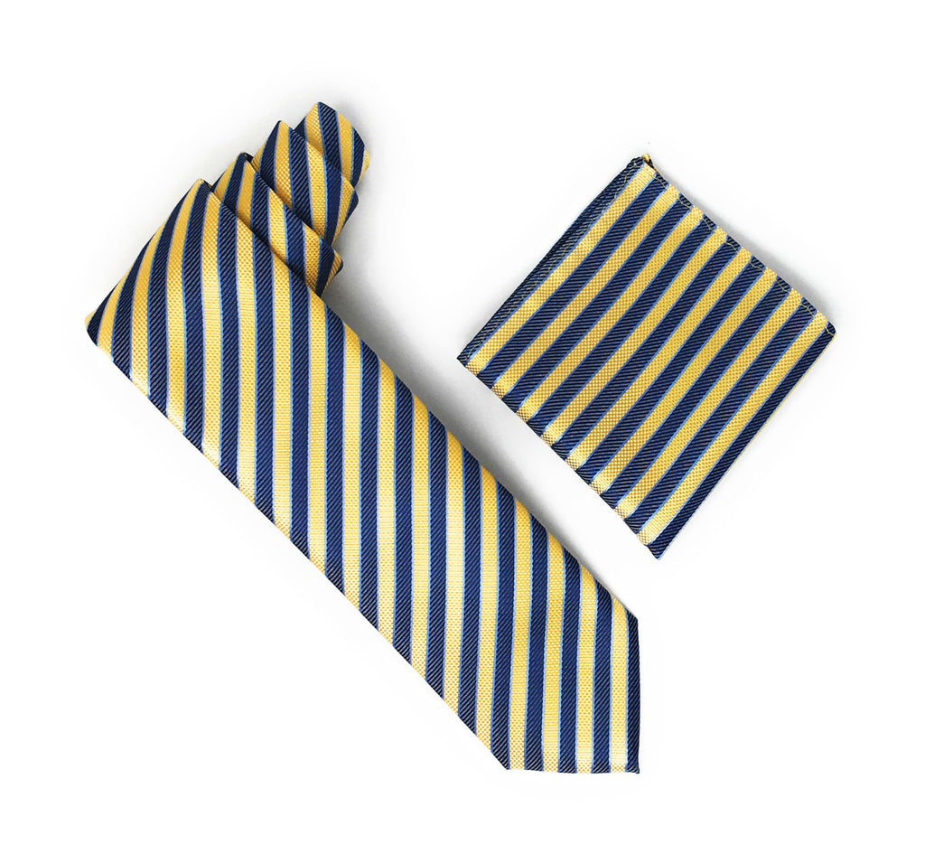 Yellow, Baby Blue & Blue Stripped Extra Long Silk Tie With Matching Pocket Square