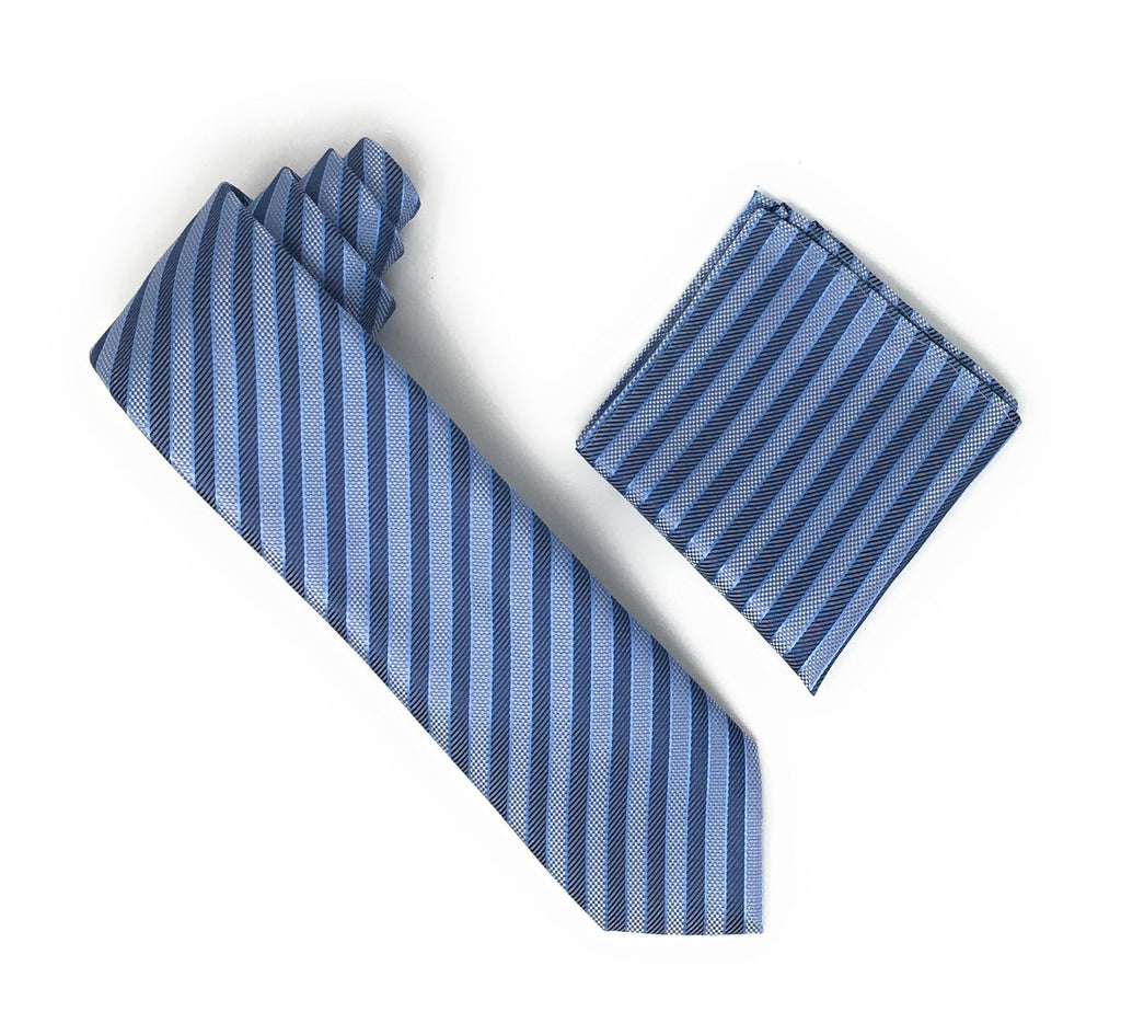 Light Blue, Baby Blue & Blue Stripped Extra Long Silk Tie With Matching Pocket Square