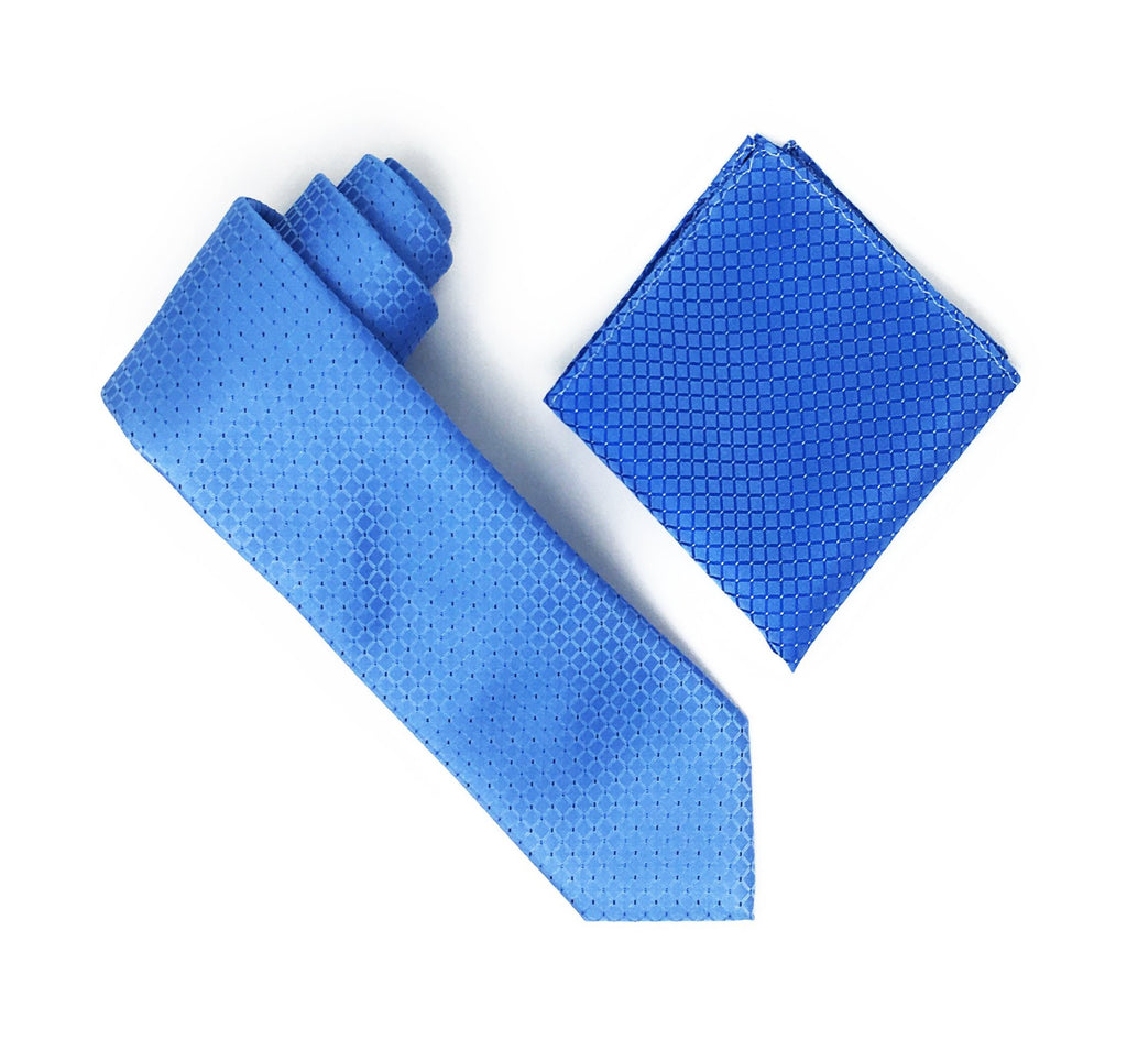 Baby Blue Squares with Navy & Blue Dotted Designed Extra Long Silk Tie With Matching Pocket Square