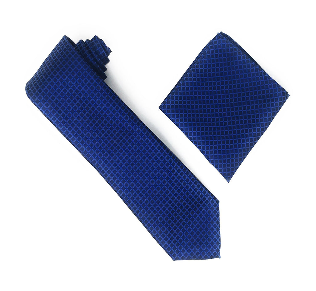Navy Squares With Navy Dotted Designed Extra Long Silk Tie With Matching Pocket Square