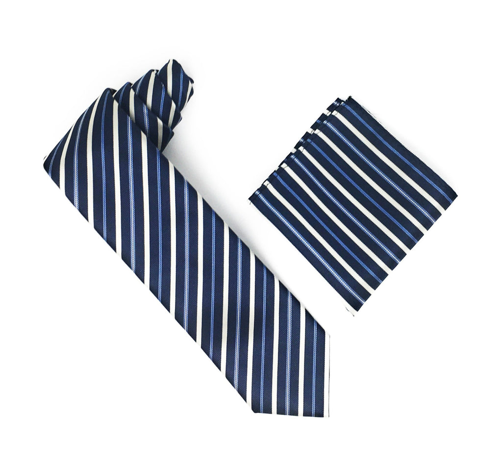 Navy, Tan & Blue Stripped Silk Tie With Matching Square