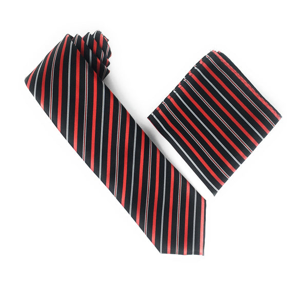 Black, Red & Silver Stripped Silk Tie With Matching Pocket Square