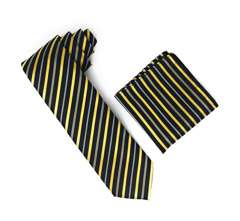 Black, Gold & Silver Stripped Extra Long Silk Tie With Matching Pocket Square