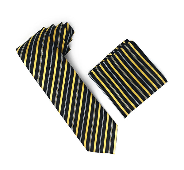 Black, Gold & Silver Stripped Silk Tie With Matching Pocket Square