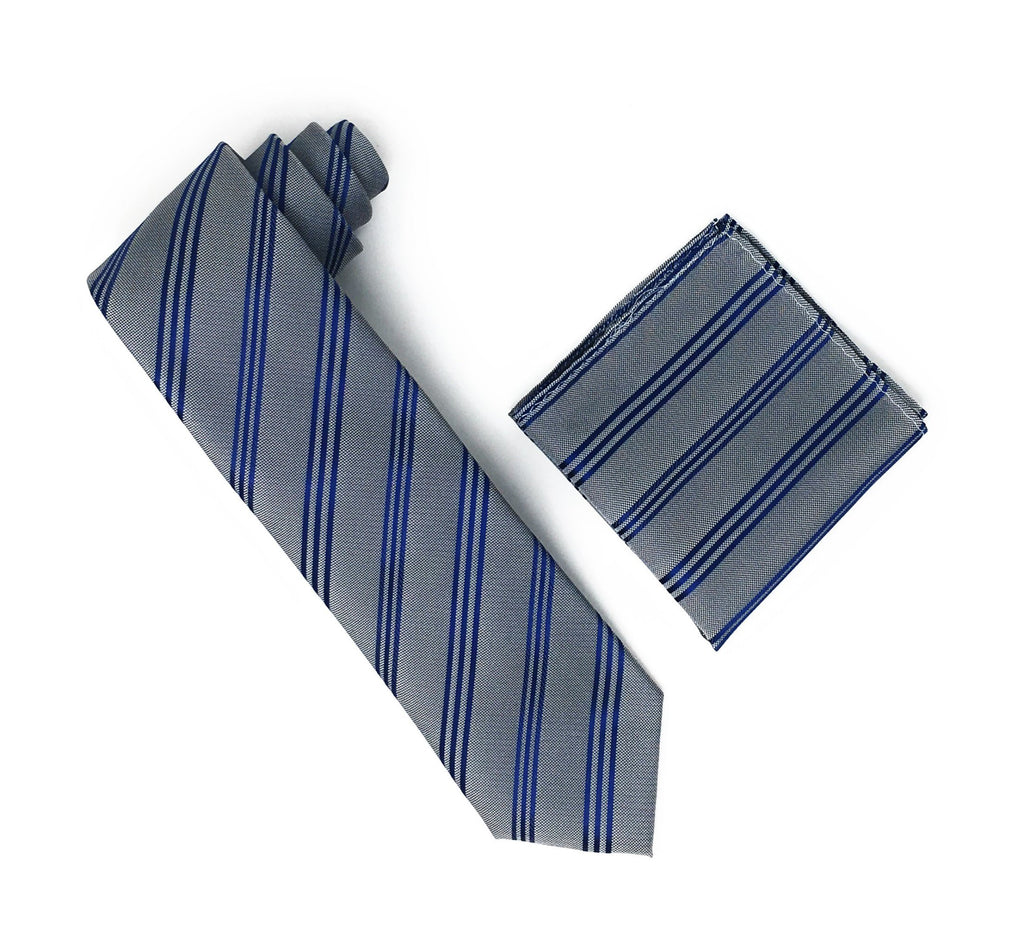 Grey & Blue Stripped Extra Long Silk Tie With Matching Pocket Square