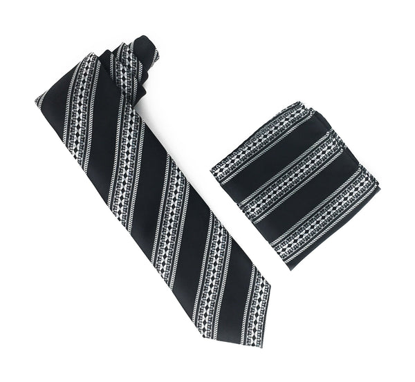 Black, Grey & Silver Stripped & Designed Silk Tie With Matching Pocket Square