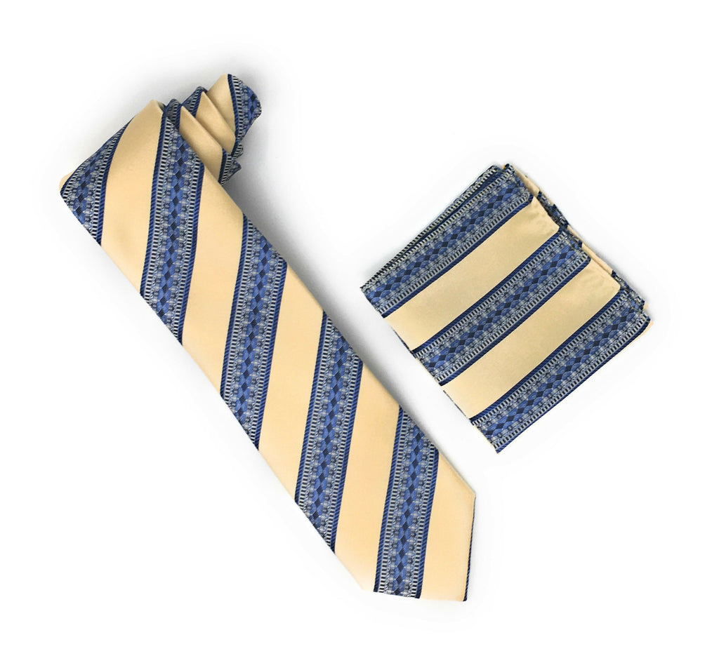 Tan, Blue, Navy & Silver Stripped & Designed Silk Tie With Matching Pocket Square