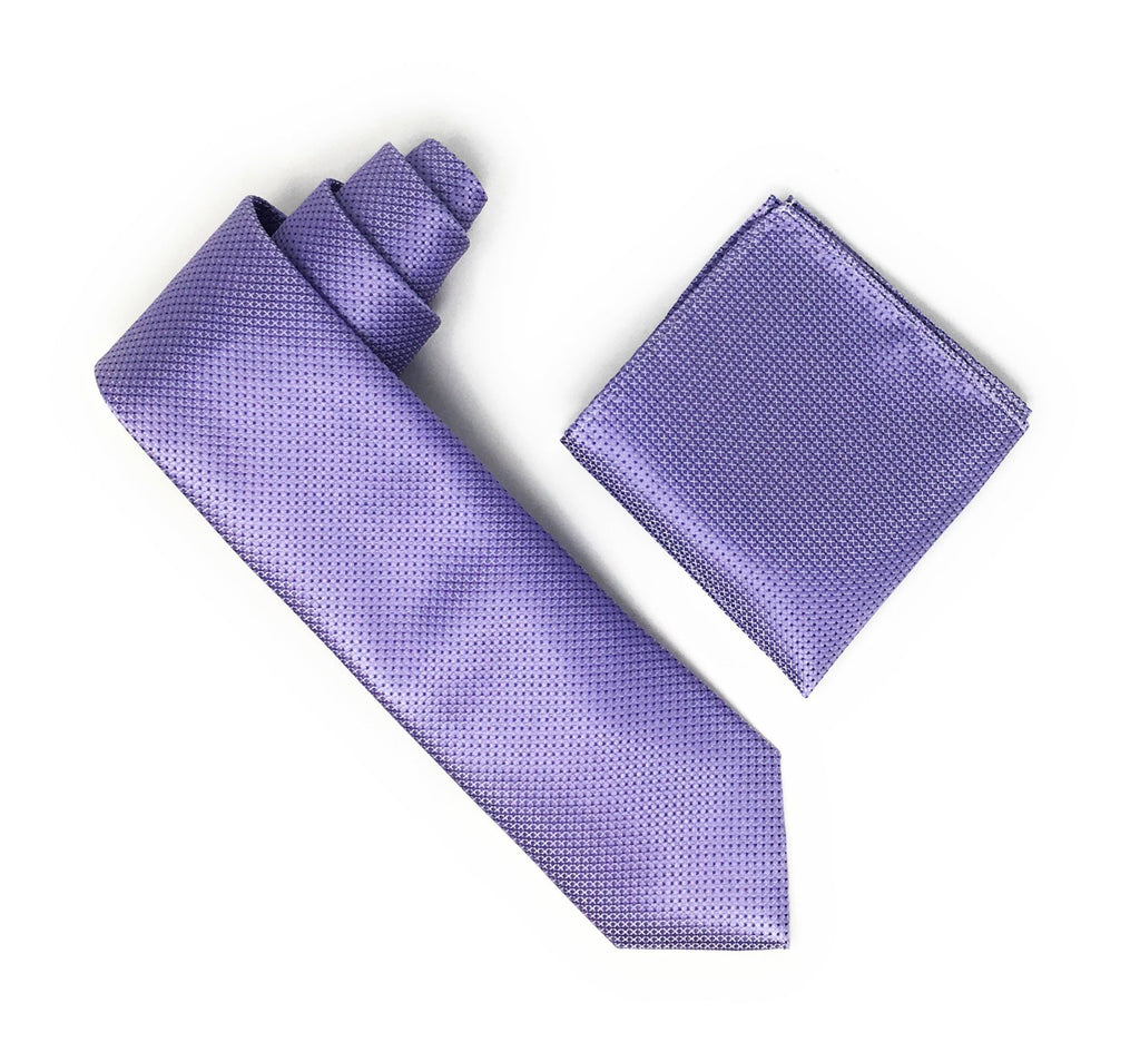 Light Purple With Purple Dots Designed Extra Long Silk Tie With Matching Pocket Square