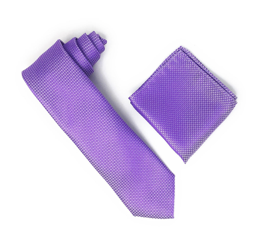 Light Purple With Purple Squared Designed Silk Tie With Matching Pocket Square