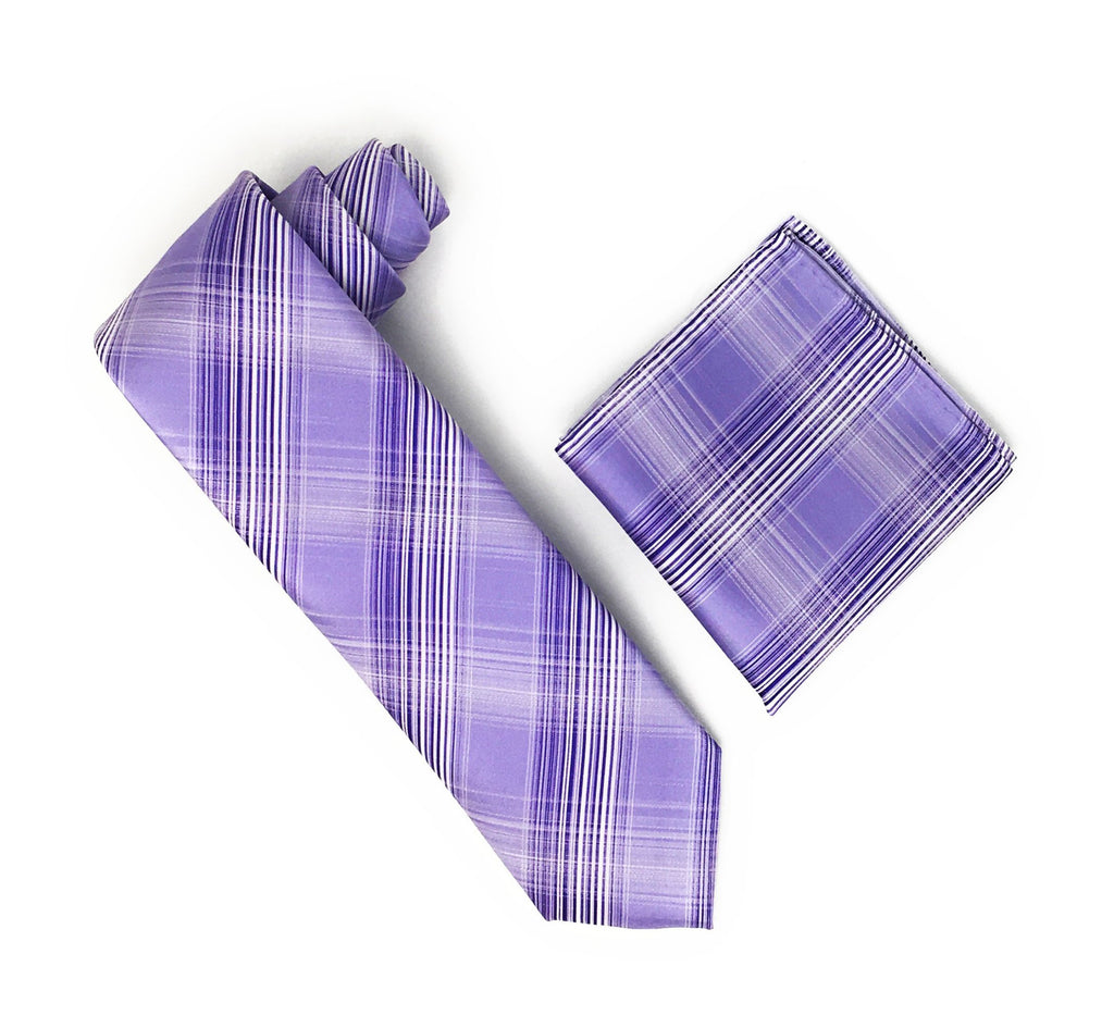 Light Purple With Purple & White Stripped Designed Silk Tie With Matching Pocket Square