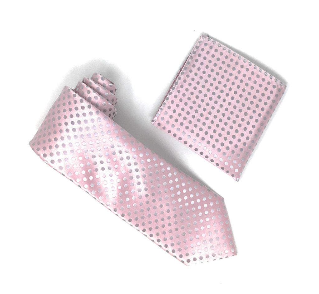 Metallic Light Pink With Silver Dotted Designed Extra Long Silk Tie With Matching Pocket Square