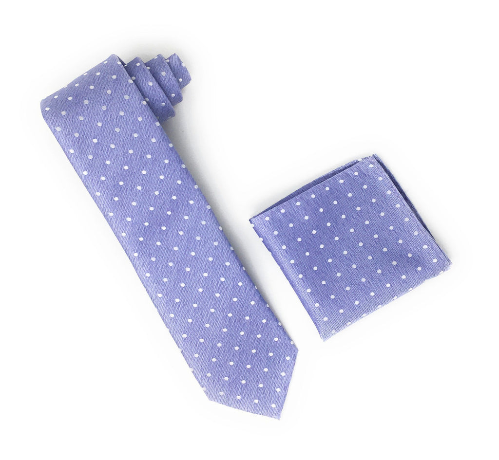 Light Purple With Silver Dotted Designed Silk Tie With Matching Pocket Square