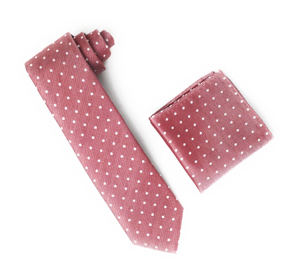 Light Burgundy With Silver Dotted Designed Silk Tie With Matching Pocket Square