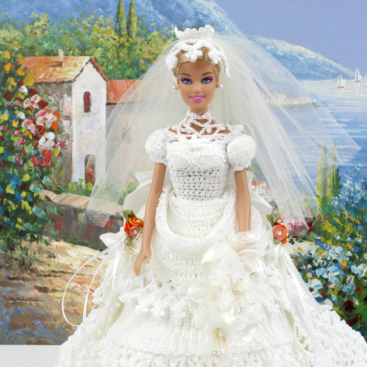Bride Gown Barbie Doll Handmade Crochet Wedding Dress Doll Collection The Rose Park