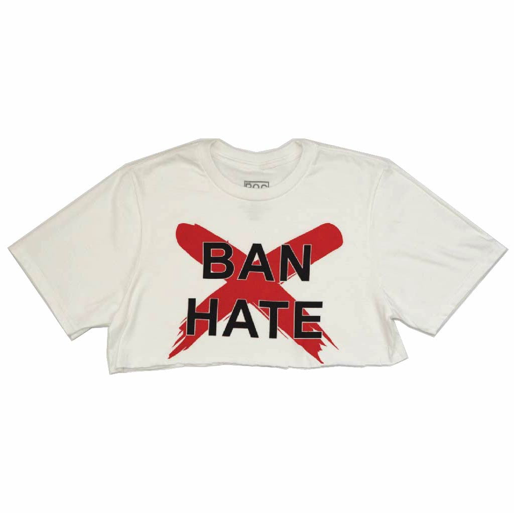 Ban Hate Cut Crop Tee (White) - Black Owned Clothing