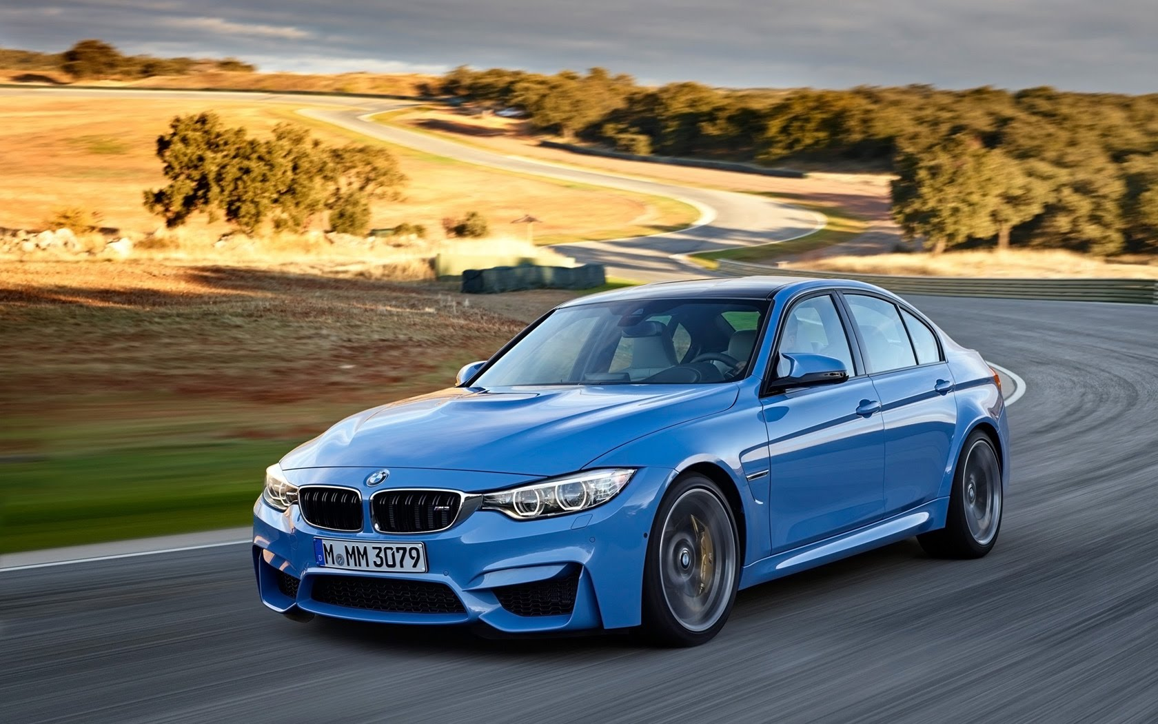 The 2016 BMW M3 in Yas Marina blue.