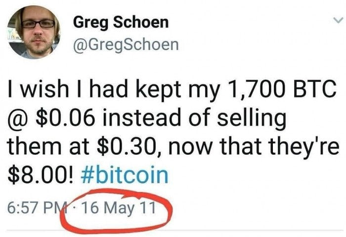 Tweet about selling Bitcoin too early