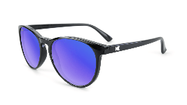 Glossy black tortoise sunglasses with round blue lenses