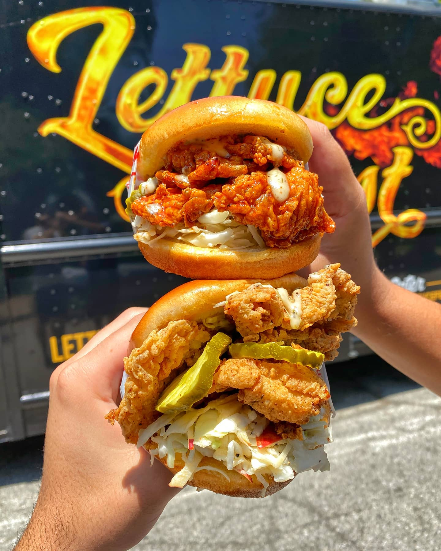 Vegan fried chicken sandwiches from Lettuce Feast
