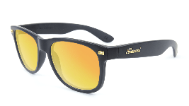 Matte black sunglasses with orange lenses