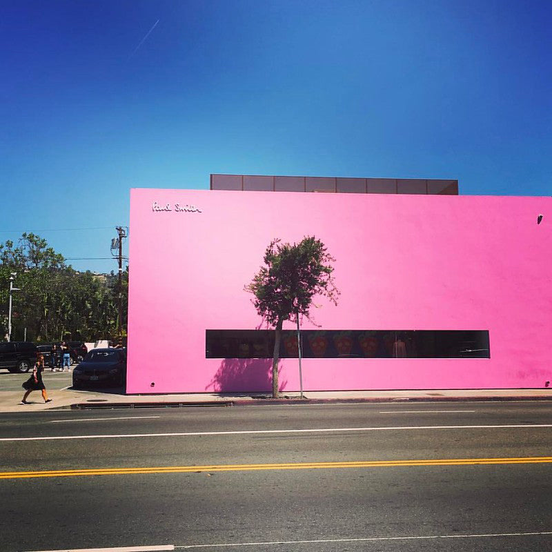 Pink Wall on Melrose Ave in Los Angeles