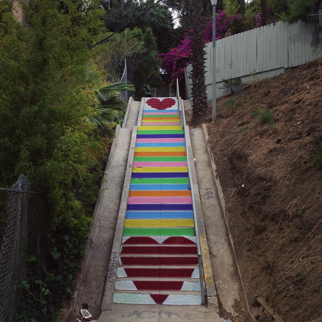 Rainbow heart stairs in Silver Lake