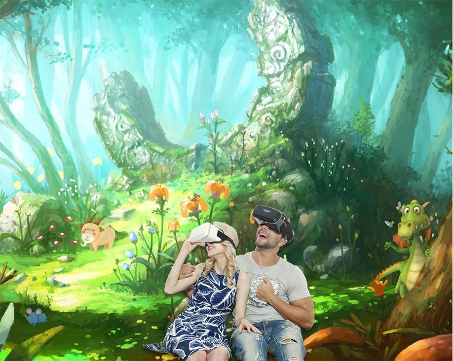 Two people in fantasy cartoon virtual reality