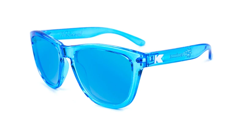 Clear blue kids sunglasses with blue lenses
