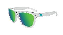 Clear kids sunglasses with green lenses