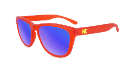 Red kids sunglasses with blue lenses