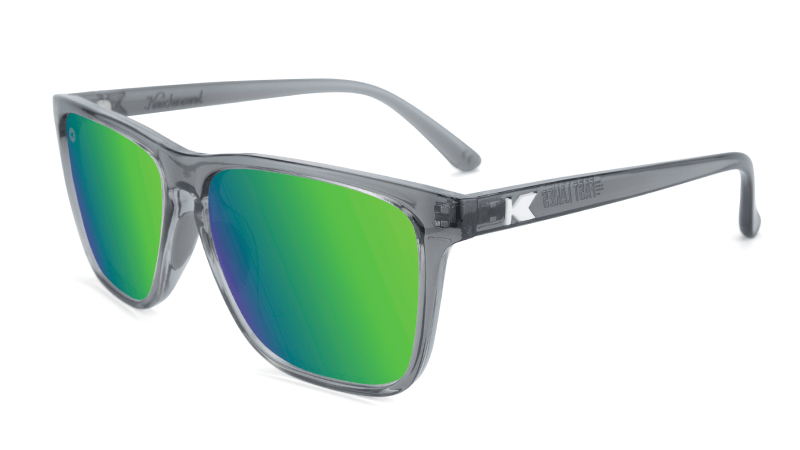 Clear grey sunglasses with green lenses