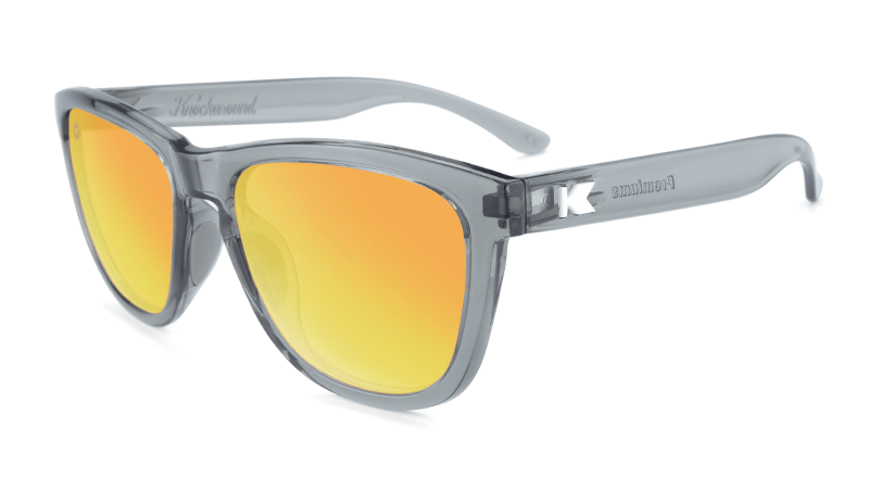 Clear Grey sunglasses with orange lenses