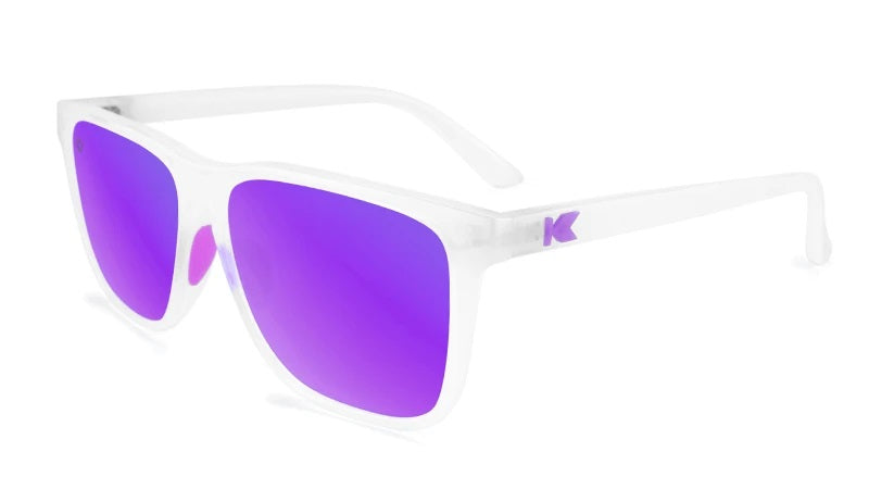 Clear sunglasses with purple lenses
