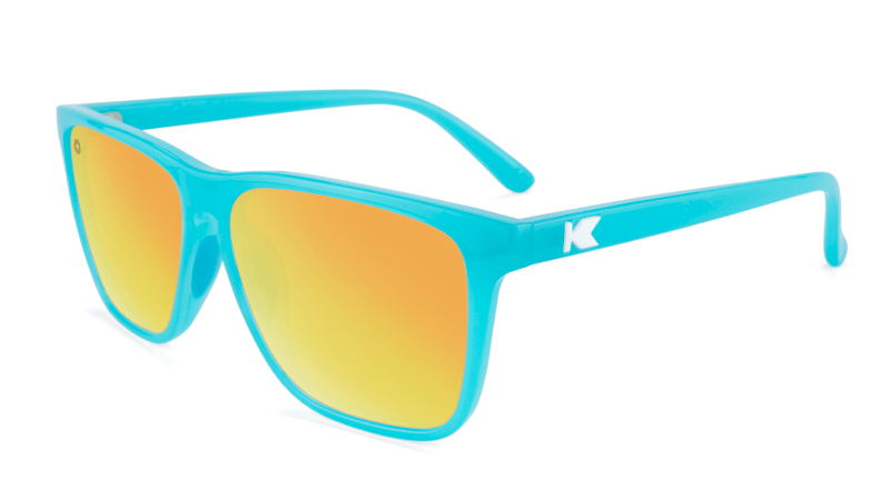 Light blue sunglasses with square orange lenses
